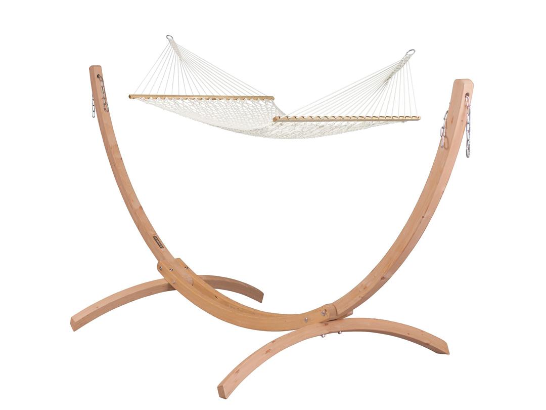 Zestaw hamakowy: hamak Virginia ze stojakiem drewnianym Canoa