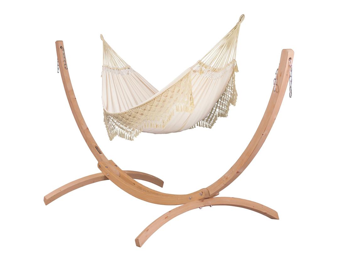 Zestaw hamakowy: hamak rodzinny Bossanova ze stojakiem drewnianym Canoa