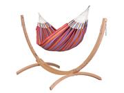 Zestaw hamakowy: hamak Carolina ze stojakiem drewnianym Canoa