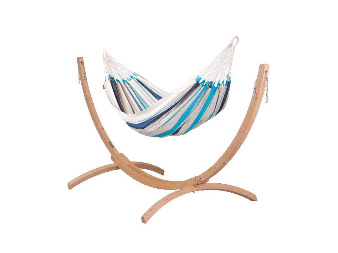 Zestaw hamakowy: hamak Caribena ze stojakiem drewnianym Canoa