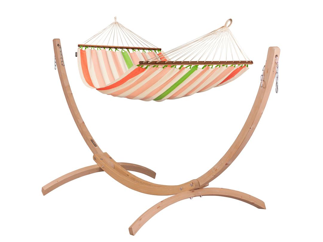 Zestaw hamakowy: hamak Colada ze stojakiem drewnianym Canoa