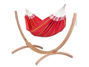 Zestaw hamakowy: hamak Currambera ze stojakiem drewnianym Canoa