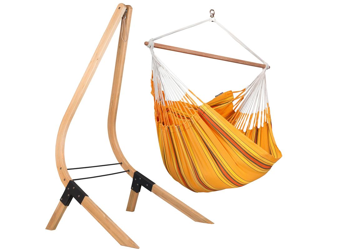 Zestaw hamakowy: leżak Currambera ze stojakiem drewnianym Vela