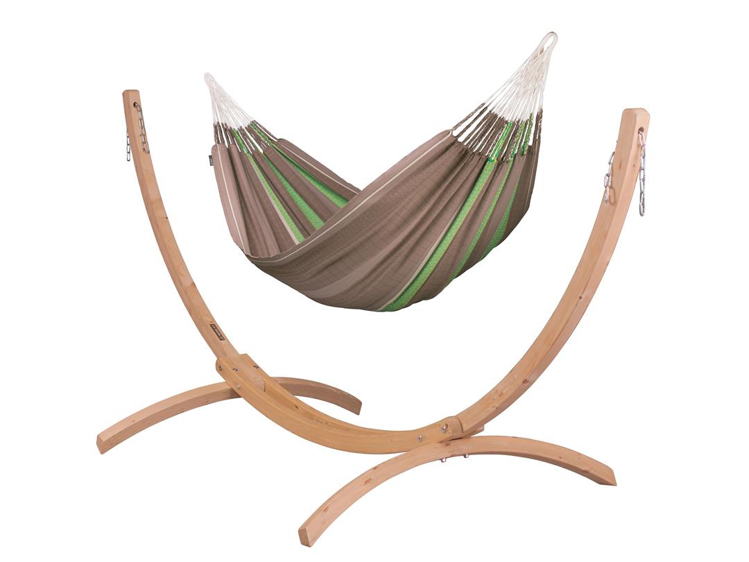 Zestaw hamakowy: hamak rodzinny Flora ze stojakiem drewnianym Canoa