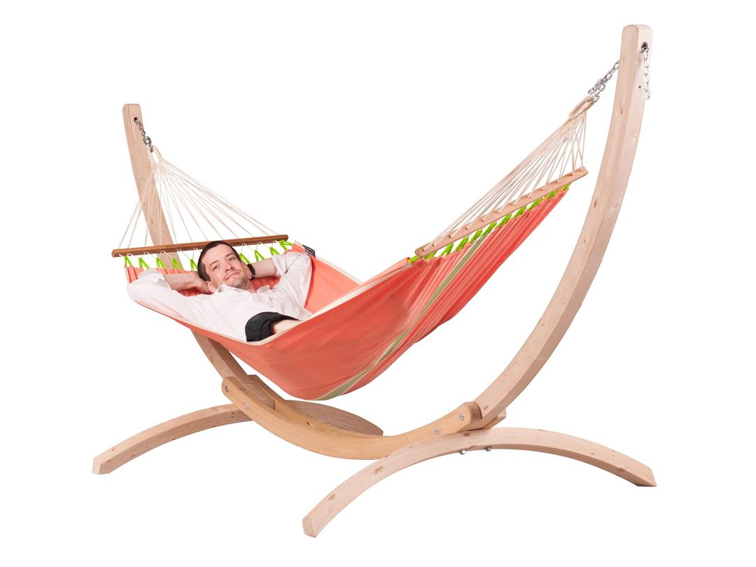 Zestaw hamakowy: hamak Fruta ze stojakiem drewnianym Canoa