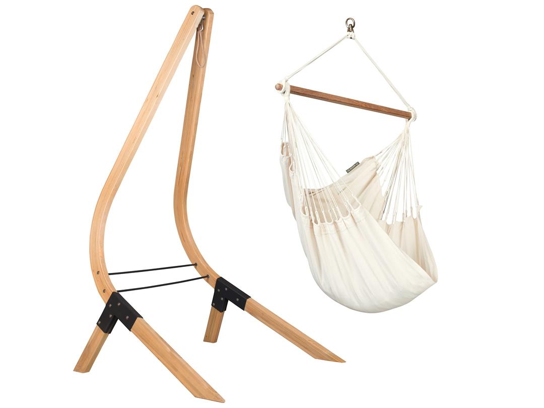 Zestaw hamakowy: Fotel hamakowy Modesta ze stojakiem drewnianym Vela