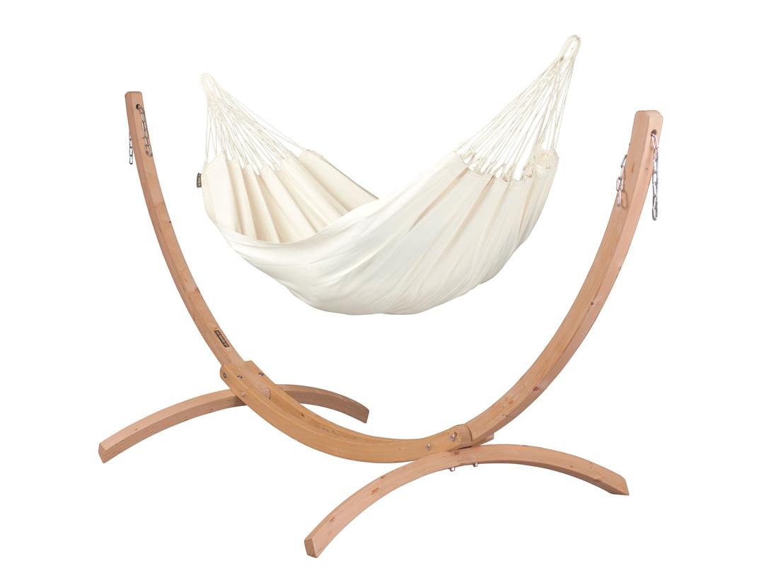 Zestaw hamakowy: hamak Modesta ze stojakiem drewnianym Canoa
