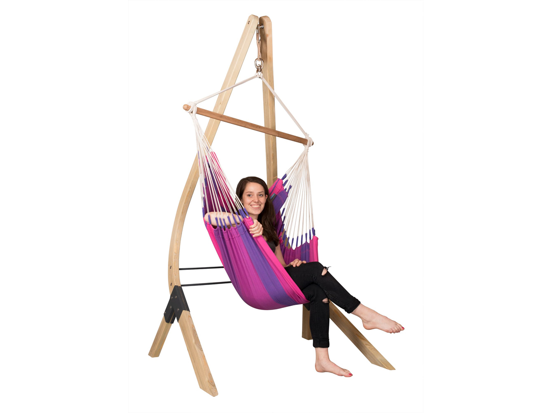 Zestaw hamakowy: Fotel hamakowy Orquidea ze stojakiem drewnianym Vela