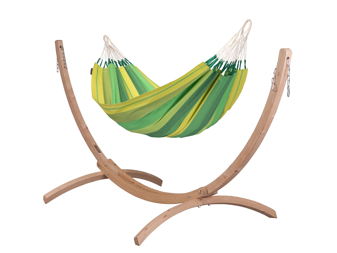 Zestaw hamakowy: hamak Orquidea ze stojakiem drewnianym Canoa