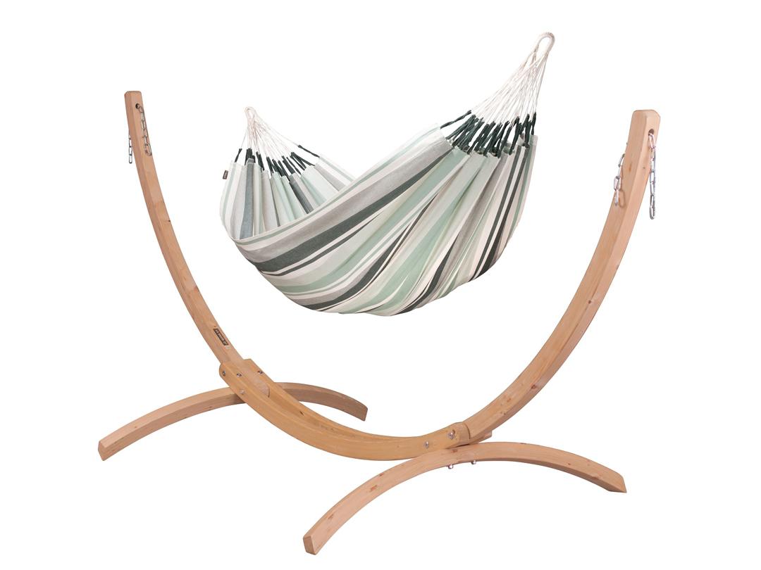 Zestaw hamakowy: hamak Paloma ze stojakiem drewnianym Canoa