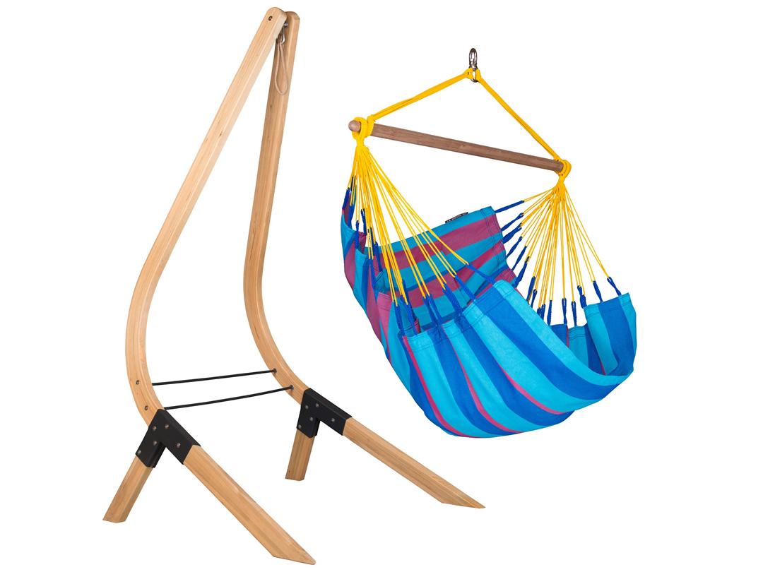 Zestaw hamakowy: Fotel hamakowy Sonrisa ze stojakiem drewnianym Vela