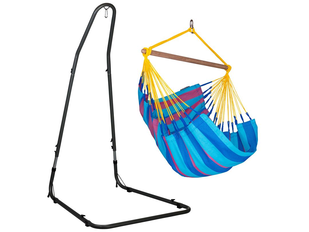 Zestaw hamakowy: fotel hamakowy Sonrisa z regulowanym,metalowym stojakiem Mediterraneo