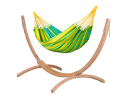 Zestaw hamakowy: hamak Sonrisa ze stojakiem drewnianym Canoa